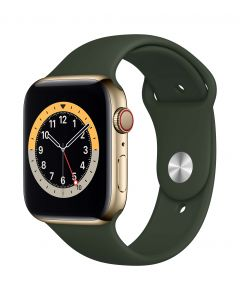 Apple Watch Series 6 Cellular 44mm Gold Steel Cyprus Green Band
