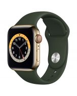 Apple Watch Series 6 Cellular 40mm Gold Steel Cyprus Green Band