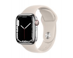 Apple Watch Series 7 Cellular in Silver Steel with Starlight Band