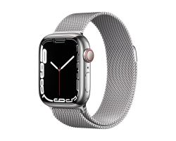 Apple Watch Series 7 Cellular in Silver Steel with Silver Milanese Loop