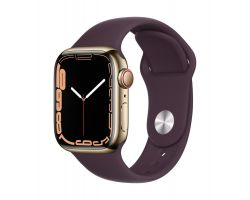 Apple Watch Series 7 Cellular in Gold Steel with Dark Cherry Band