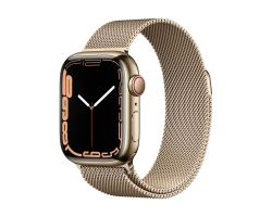 Apple Watch Series 7 Cellular in Gold Steel with Gold Milanese Loop