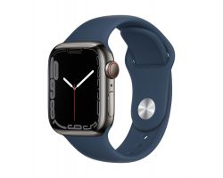 Apple Watch Series 7 Cellular in Graphite Steel with Abyss Blue Band